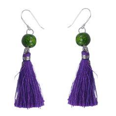 Silvesto India Purple Wood Tassel 925 Sterling Silver Hook Long Earrings For Girls pg-4621   https://www.amazon.es/dp/B01ID210FK