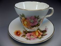 Vintage Crown Trent Tea Cup Saucer Staffordhsire Pink Peach Roses English China
