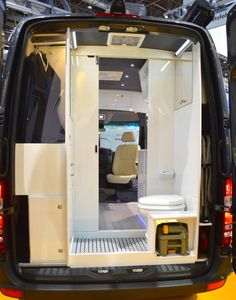 The Sprinter's rear houses a bathroom with integrated wardrobe closet
