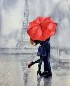Paris Painting - Under A Red Umbrella by Michal Madison Umbrella Painting, Umbrella Art, Couple Painting, Couple Art, Paris Painting, Diy Painting, Umbrella Street, Beginner Painting, Art Challenge