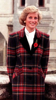 Radiant Princess Diana in a tartan jacket dress.