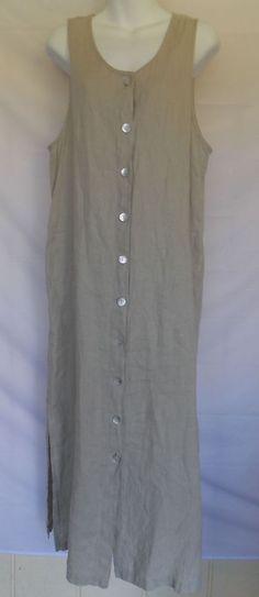 Chicos 1 Linen Dress Button Front Pockets Beige Long Maxi Side slit Medium  #ChicosDesign #DressMaxiSheath #Casual