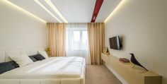minimalist bedroom, light soffits orders/price offers at: office Minimalist Apartment, Minimalist Bedroom, Marsala, Curtains, Interior Design, Furniture, Home Decor, Nest Design, Blinds