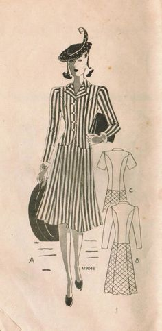 Vintage 1940s Marian Martin 9048 Sewing Pattern by midvalecottage