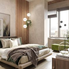 Our interior design studio in Marbella has recently completed new project - small apartment for two, inspired by spring nature. Master Bedroom Interior, Modern Master Bedroom, Modern Bedroom Design, Small Room Bedroom, Contemporary Bedroom, Home Decor Bedroom, Bedroom Layouts, Bedroom Styles, Apartment Interior Design