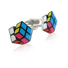 Rubik's cube cufflinks! Men don't wear these enough. Fun touch to a casual look with a crisp shirt on date night out. Sexy!
