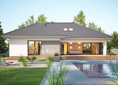Nela VI - zdjęcie 3 House Plans Mansion, My House Plans, Bungalow House Plans, Beautiful House Plans, Simple House Plans, Home Building Design, Building A House, House Outside Design, House Design