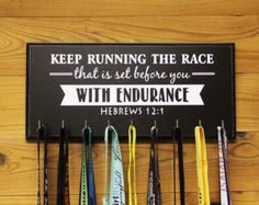 Running Medal Holder.  Keep Running the Race that is set before you With Endurance Hebrews on Clearance