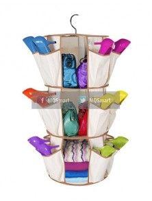 Sahabat MQSmart bosan dengan shoes organizer biasa? Cobalah shoes orgnizer yg ini, dengan bentuk melingkar yang bisa  diputar, sudah tersedia gantungan. 3 shelves, 24 pocket. Unik, menarik.