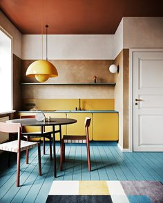 Wonderful and colorful midcentury modern interior. Midcentury modern, mixed with… Wonderful and colorful midcentury modern interior. Midcentury modern, mixed with contemporary and style, love these colors and this… - Add Modern To Your Life Vintage Modern, Blue Floor, Kitchen Colors, Kitchen Yellow, Yellow Kitchen Cabinets, Mustard Kitchen, Kitchen Paint, Yellow Kitchens, Room Kitchen
