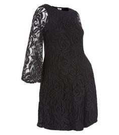 FASHION DUES & DUEN'TS - Retro Maternity Style Category   John Zack Maternity Black Lace Flare Sleeve Swing Dress at NEWLOOK
