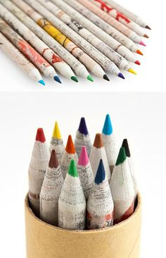 Eco-friendly recycled paper pencils (made from recycled paper). Waste Art, Diy Supplies, Recycled Art, Zero Waste, Colored Pencils, Creative Design, Biodegradable Products, Eco Friendly, Stationery