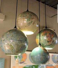 Awesome diy craft idea. Old globe turned into a lamp