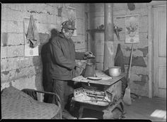 Scott's Run, West Virginia. Employed bachelor at home in Sessa Hill - This scene is typical of hundreds of bachelors who belong to a group of immigrants whose family was separated by immigration restrictions. This man may, or may not, have a wife in another country, March 1937 | Photographer: Louis Wickes Hines (pinned by haw-creek.com)