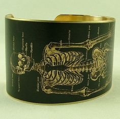 Anatomical Human Skeleton Brass Cuff Bracelet in Black -Doctor Jewelry