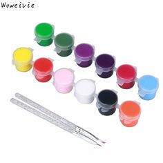 High Quality 2x12Colors Painting Nail Art Acrylic Pigment UV Gel Tips with 4 Brush Pens Free Shipping