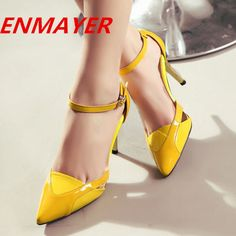 ENMAYER Ankle Strap Vintage Sexy Pointed Toe High Heels Women Pumps Shoes 2014 Brand New Design Less Platform Pumps $94.46