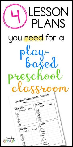 4 Lesson Plans you Need for Your Play-Based Classroom