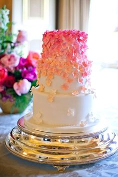romantic ombre pink wedding cakes 3