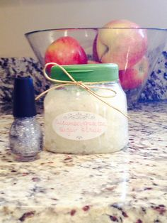 Homemade sugar scrub with recycled truvia container