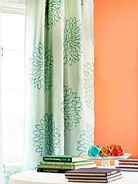 stencil idea - using lavender paint 4 Ways to Personalize Curtain Panels: DIY Ideas for Window Treatments