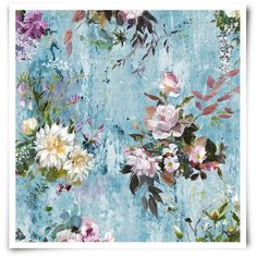 Designers Guild Aubriet Wallpaper Slate Blue (1.315 RON) ❤ liked on Polyvore featuring home, home decor, wallpaper, blue, textured wallpaper, heart wallpaper, floral home decor, flower pattern wallpaper and blue wallpaper