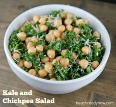 and Chickpea Salad The chickpeas are packed with protein, and the kale is super-healthy. This recipe is easy and delicious!The chickpeas are packed with protein, and the kale is super-healthy. This recipe is easy and delicious! Easy Kale Recipes, Kale Salad Recipes, Clean Eating Recipes, Vegetarian Recipes, Cooking Recipes, Healthy Chickpea Recipes, Chickpea Meals, Kale Salads, Super Healthy Recipes