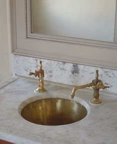 Unlacquered Brass Faucet ~ Butler's Pantry Sink ~ White Marble