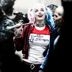 margot robbie as harley quinn on set for 'suicide squad'