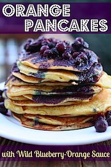 Orange pancakes with wild blueberry sauce #Fitfluential #EAT from katieheddleston.com