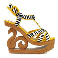 Show Story Hot Zebra Print Strappy Wooden Wedge Platform Clogs Sandals,LF30805 - [UK & IRELAND]
