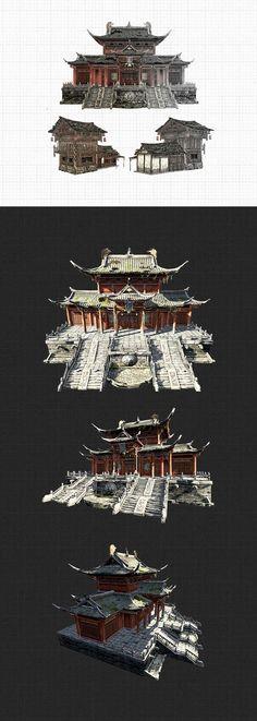 游戏场景-建筑-2 Asian Architecture, Concept Architecture, Environment Concept Art, Environment Design, Prop Design, Game Design, Building Concept, 3d Building, Chinese Buildings