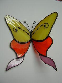 Suncatcher de vitrail Tiffany Style papillon 3D