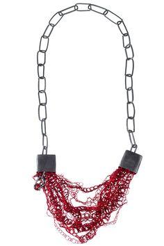 Joanne Garner Necklace: Gemstones and Textiles, 2014 Oxidised silver, silk threads and chequered garnet