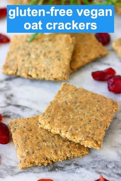 These Gluten-Free Vegan Crackers are crispy and crunchy, super easy to make and full of flavour! They make the perfect snack or appetiser to serve with vegan cheese, pâté, hummus or a dip and are excellent for Thanksgiving, Christmas or New Year Healthy Crackers, Gluten Free Crackers, Homemade Crackers, Healthy Vegan Snacks, Vegan Food, Whole Food Recipes, Vegan Recipes, Snack Recipes, Vegan Cracker Recipe