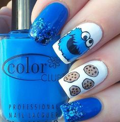 15 Of The Most Bizarre Fandom's Perfectly Nailed Funky Nail Art, Funky Nails, Cute Nails, Pretty Nails, Nail Art Designs Images, Cute Nail Designs, Sally Hansen, Essie, Cookie Monster Nails