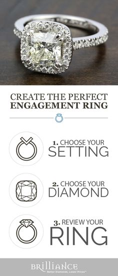 Create your perfect engagement ring! Start with a beautiful setting, add your choice of cushion diamond and see it all come together!