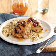 Apricot-Rosemary Chicken Thighs with Roasted Almond Couscous - Superfast Chicken Recipes - Cooking Light