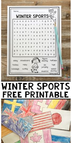 Winter Sports Free Printable Word Search