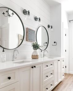 Ideas for mirrors in masterbath. See more ideas about Beautiful bathrooms, Small bathroom mirrors and Bathroom. Photo by Kirsten in Raleigh N. with Gambar mungkin berisi: tabel dan dalam ruangan via White Bathroom Cabinets, White Cabinets, Guest Bathrooms, Master Bathroom, Bathroom Mirrors, Serene Bathroom, Beautiful Bathrooms, Small Bathroom, Modern Farmhouse Bathroom