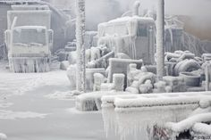 Cold snap: Trucks in Chicago are frozen in place under sheets of ice as an Arctic blast continues to grip the U. Midwest and Northeast Winter Pictures, Cool Pictures, Cool Photos, Amazing Photos, Winter Images, Chicago Winter, Chicago Fire, Chicago Illinois, Snow And Ice