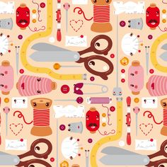 Kawaii Pattern Design by Nancy Kers, via Behance