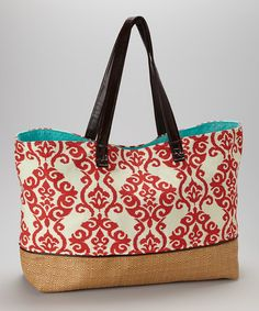 Another great find on #zulily! Red Damask Tote by Caught Ya Lookin' #zulilyfinds