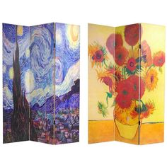 ORIENTAL FURNITURE Handmade Canvas Double-sided Van Gogh Paintings Room Divider (China) (Double Sided Works of Van Gogh Canvas Room Divider (China)), Multi
