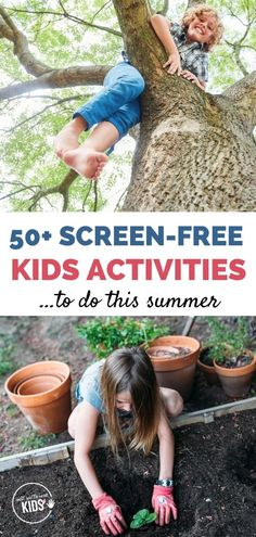 Bored kids at home? Have your kids try these 50+ screen-free activities this summer. Includes both outside and indoor kids activities. #kidsactivities #summeractivitiesathome #boredkidsactivities Free Activities For Kids, Educational Activities For Kids, Learning Activities, Summer Crafts For Kids, Summer Kids, Good Parenting, Parenting Toddlers, Bored Kids, Backyard Play