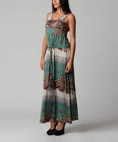 Take a look at the Christine V Teal & Navy Drawstring Maxi Dress on #zulily today!
