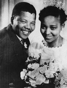Nelson Mandela and his second wife Winnie Madikizela.  Married 1958–1996 (Divorced).