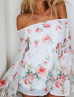 Romantic Floral Print Stylish Off Shoulder Long Sleeve Floral Print Chiffon Women's Blouse