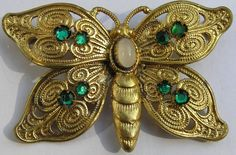 Vintage Czech Rhinestone Butterfly Brooch Pin Filigree Repousse Cabochon  #Unbranded