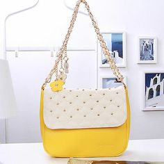 Retro Gold Studded Chain Shoulder Bag